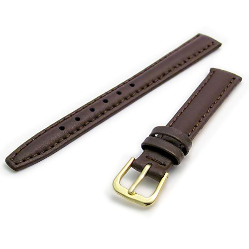 Smooth Padded Replacement Leather Watch Strap 14mm Brown with a Gilt (Gold Colour) Buckle from WatchWatchWatch