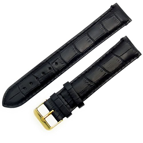 Super-Long XXL Padded Croc Grain Genuine Leather Watch Strap Band 18mm Black Gilt (Gold Colour) Buckle from WatchWatchWatch