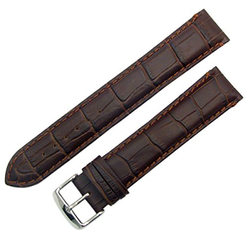 Super-Long XXL Padded Croc Grain Genuine Leather Watch Strap Band 18mm Brown Chrome (Silver Colour) Buckle from WatchWatchWatch