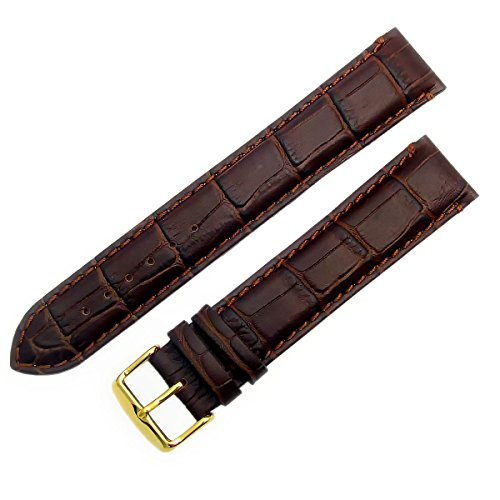 Super-Long XXL Padded Croc Grain Genuine Leather Watch Strap Band 18mm Brown Gilt (Gold Colour) Buckle from WatchWatchWatch
