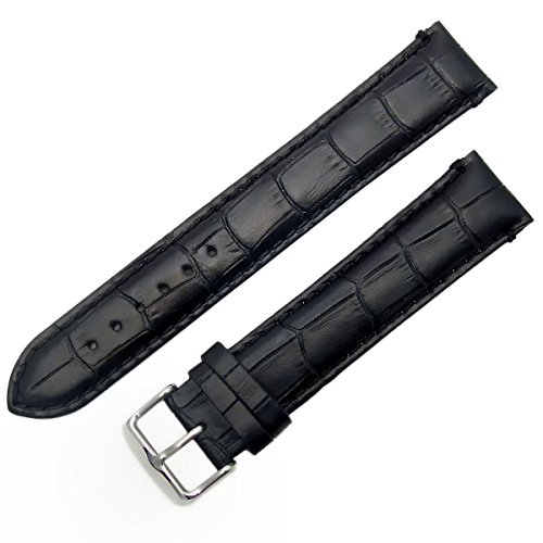 Super-Long XXL Padded Croc Grain Genuine Leather Watch Strap Band 22mm Black Chrome (Silver Colour) Buckle from WatchWatchWatch