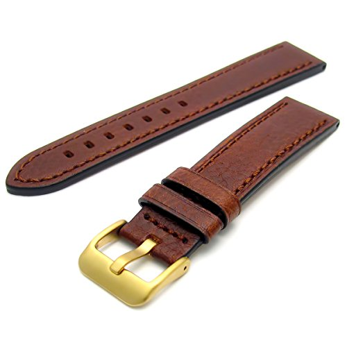 Heavy Buffalo Grain Men's Leather Watch Strap Brown 20mm Wide with Goldtone Steel Buckle C003 from WatchWatchWatch
