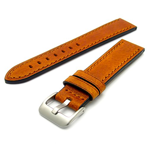 1bc9b6fb1 Superior Quality Heavy Chunky Buffalo Grain Men's Leather Watch Strap Tan  20mm Wide With Steel Buckle