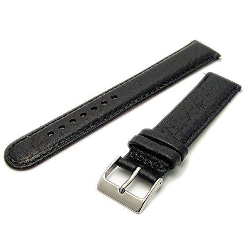 Ventilated Breathable Air-Con Padded Leather Watch Strap 18mm Black with Chrome (Silver Colour) Buckle from WatchWatchWatch
