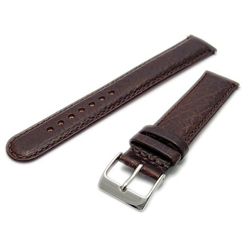 Ventilated Breathable Air-Con Padded Leather Watch Strap 20mm Brown with Chrome (Silver Colour) Buckle from WatchWatchWatch