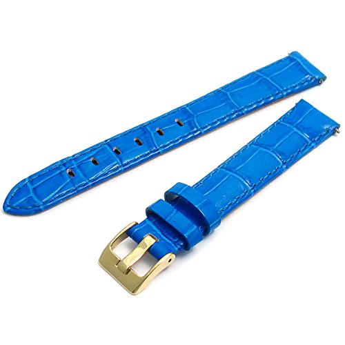 Women's Colourful Leather Watch Strap Croc Grain 12mm Blue g C051 from WatchWatchWatch
