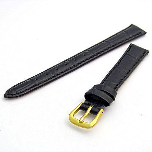 Women's Padded Croc Grain Leather Watch Strap Band 12mm Black with Gilt (Gold Colour) Buckle 620g/12 from WatchWatchWatch