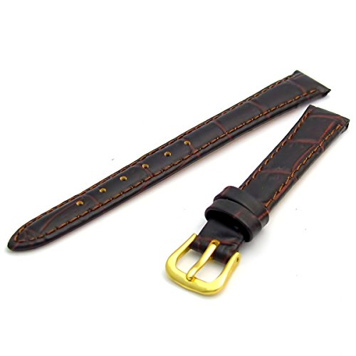 Women's Padded Croc Grain Leather Watch Strap Band 14mm Brown with Gilt (Gold Colour) Buckle 621g/14 from WatchWatchWatch
