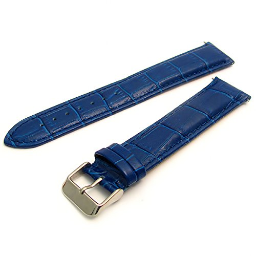 XXL Coloured Padded Croc Grain Leather Watch Strap 20mm Blue s from WatchWatchWatch