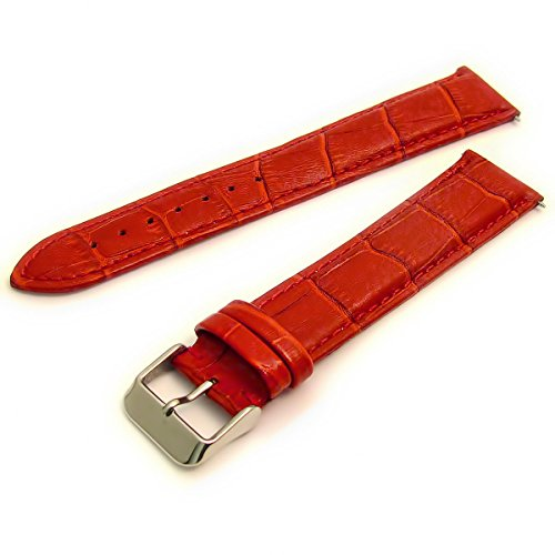 XXL Coloured Padded Croc Grain Leather Watch Strap 24mm Red with Chrome (Silver Colour) Buckle C005 from WatchWatchWatch