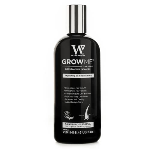 Best Hair Growth Shampoo Sulphate & Paraben Free, Caffeine, Biotin, Argan Oil, Allantoin, Rosemary. Stimulates hair growth, Great for slow growing hair - Hair Loss problems for Men and Women from Watermans