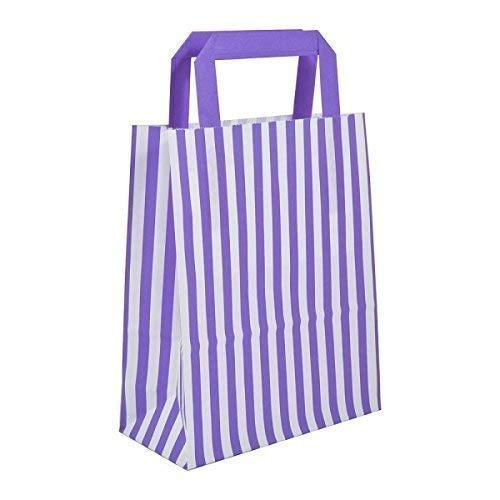 We Can Source It Ltd 40 x Purple Candy Stripe Paper Carrier Bags with Flat Handles - 18cm x 22cm x 8cm - WECANSOURCEIT from We Can Source It Ltd