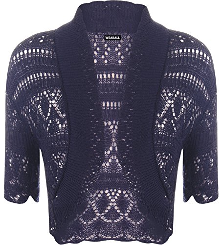 WearAll Ladies Crochet Shrug Knitted Bolero Top Women Cardigan - Navy Blue - 8/10 from WearAll