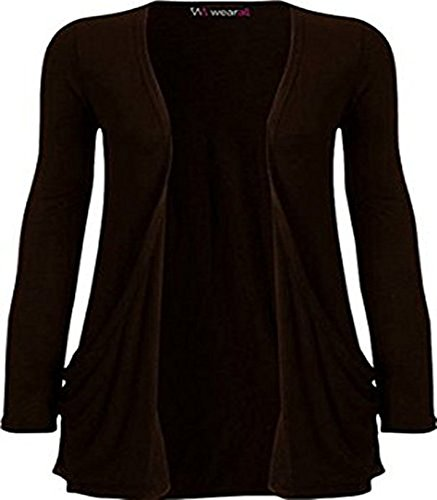 Ladies Long Sleeve Boyfriend Cardigan Womens Top - Brown - 12/14 from WearAll