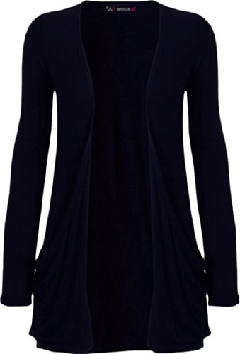 Ladies Long Sleeve Boyfriend Cardigan Womens Top - Navy Blue - 12/14 from WearAll