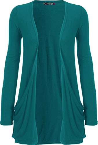 WearAll Ladies Long Sleeve Boyfriend Cardigan Womens Top - Teal - 12/14 from WearAll