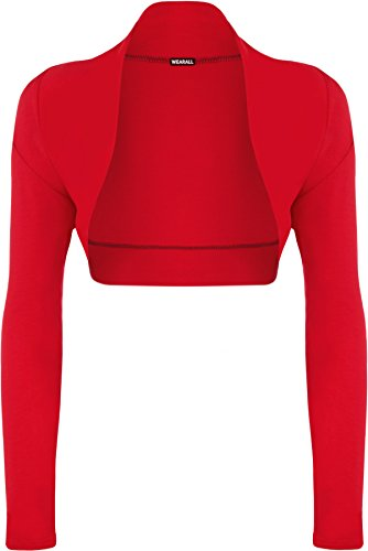 WearAll Ladies Long Sleeve Shrug Womens Bolero Cardigan Top - Red - 8/10 from WearAll
