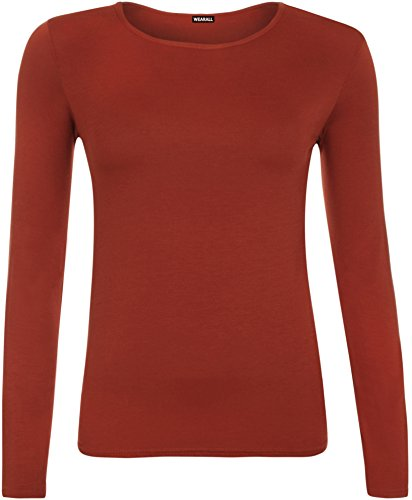 Ladies Long Sleeve T-Shirt Top Womens - Rust - 8/10 from WearAll