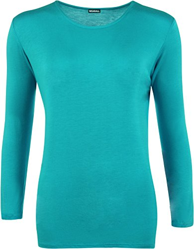 Ladies Long Sleeve T-shirt Top Womens Plus Sizes Turquoise 18 from WearAll