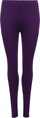 Ladies Stretch Long Leggings Womens Plus Size Purple 16/18 from WearAll