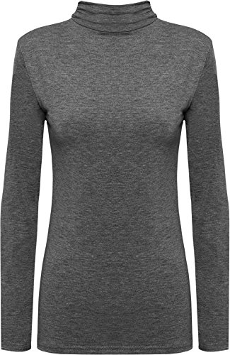 New Ladies Turtle Neck Long Sleeved Stretch Plain Polo Top Womens Jumper - Dark Grey - 8/10 from WearAll