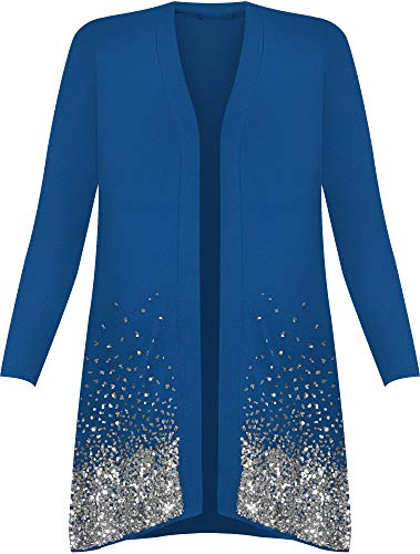 New Plus Size Ladies Sequin Cardigan Long Sleeve Womens Sparkle Top - Blue - 26/28 from WearAll
