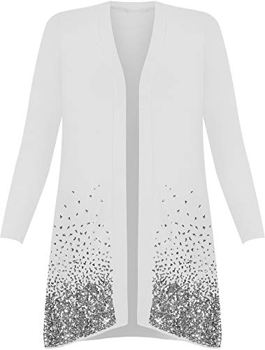 New Plus Size Ladies Sequin Cardigan Long Sleeve Womens Sparkle Top - White - 14 from WearAll