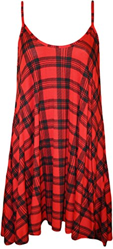WearAll Plus Size Womens Printed Strappy Sleeveless Ladies Mini Dress Vest Top - Red Tartan - 20-22 from WearAll