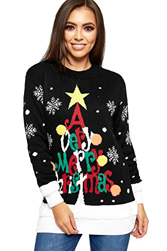 WearAll Women's Knitted Merry Christmas Long Sleeve Xmas Tree Ladies Pom Jumper - Black - 16-18 from WearAll