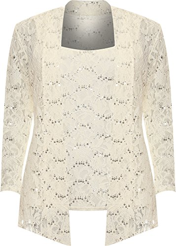 WEARALL Women's Plus Floral Lace Sequin Long Sleeve Vest Top Cardigan Ladies Party Set - Cream - 18 from WearAll