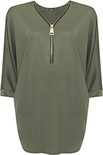 WEARALL Womens Plus Zip Curved Hem V-Neck Batwing Sleeve Top New Ladies Baggy Blouse - Green - 24-26 from WearAll