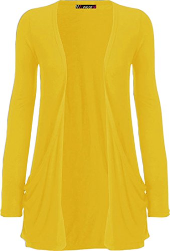 WearAll - Ladies Long Sleeve Pocket Cardigan Womens Top - Yellow - 8 / 10 from WearAll