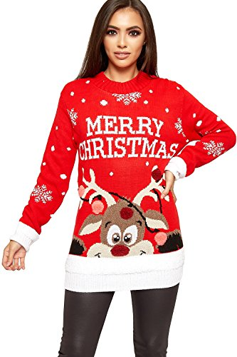 WearAll Women's Knitted Merry Christmas Xmas Snowflake Ladies Reindeer Pom Jumper - Red - 12-14 from WearAll