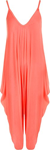WearAll Women's Lagenlook Strappy Baggy Harem Jumpsuit Dress Top Playsuit Cami - Neon Pink - One Size from WearAll