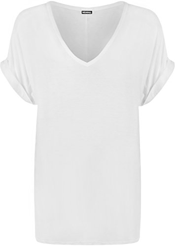 448e91bbfb6 WearAll Women s New Plus Size Womens Short Turn Up Sleeve Baggy Plain Top  Ladies V-