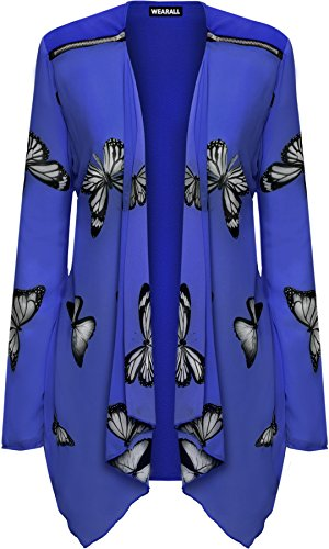 WearAll Women's Plus Long Sleeve Chiffon Butterfly Print Sheer Cardigan Top - Royal Blue - 22-24 from WearAll