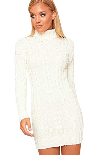 WearAll Women's Polo High Neck Long Sleeve Cable Knitted Jumper Dress Ladies Bodycon Mini - Cream - 20-22 from WearAll