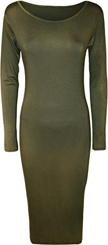 WearAll Womens Bodycon Stretch Plain Long Sleeve Ladies Round Neck Midi Dress - Khaki - 8/10 from WearAll