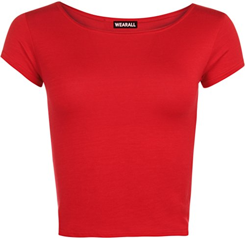 Womens Plain Crop Short Sleeve Top Round Neck Stretch Ladies Bra Vest - Red - 8/10 from WearAll