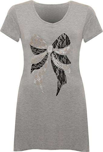Womens Plus Size Bow Lace Stud Hanky Hem Ladies Short Sleeve Long Top - Grey - 18 from WearAll