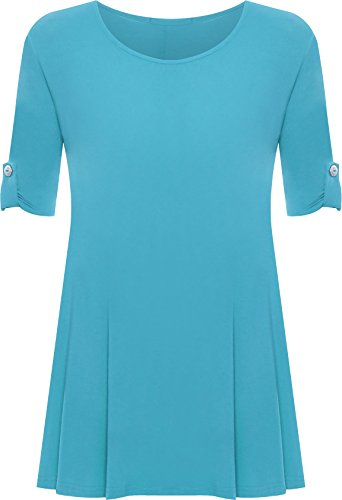 2909992bfa21 Womens Plus Size Scoop Neck Short Sleeve Flared Ladies Long Plain Top -  Blue - 16