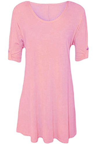 Womens Plus Size Scoop Neck Short Sleeve Flared Ladies Long Plain Top - Pink - 14 from WearAll