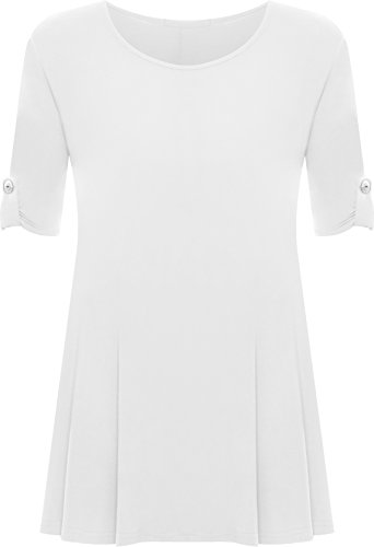 Womens Plus Size Scoop Neck Short Sleeve Flared Ladies Long Plain Top - White - 16 from WearAll