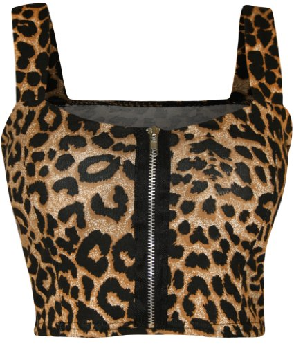 WearAll Womens Print Zip Bandeau Boobtube Ladies Padded Strap Crop Bralet Top - Leopard - 8-10 from WearAll