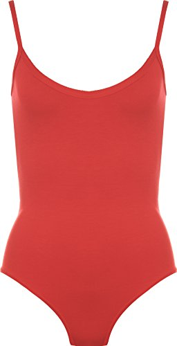 Womens Strappy Sleeveless Ladies Camisole Vest Bodysuit Leotard Top - Red - 8-10 from WearAll