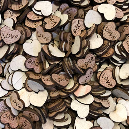 15mm Love Hearts Wooden Shabby Chic Craft Scrapbook Vintage Confetti Hearts - Pack of 100 from Wedding Touches