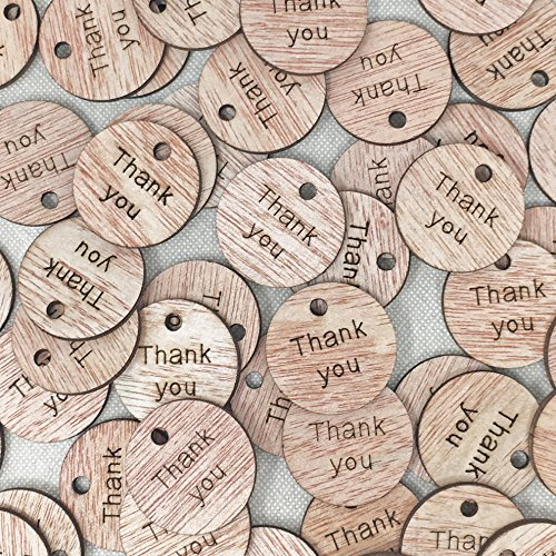 25mm Thank You Wooden Shabby Chic Craft Scrapbook Confetti Vintage Round Tags (50) from Wedding Touches