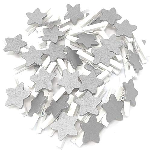 25pcs 30mm Mini White Clothes Pegs with 18mm Silver Stars Craft For Shabby Chic Wedding & Christmas from Wedding Touches