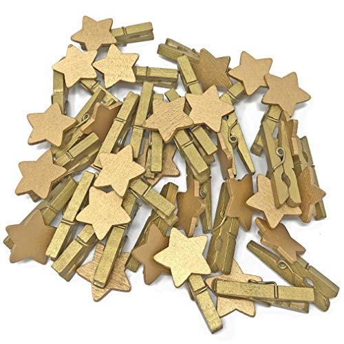 30mm Mini Gold Clothes Pegs with Matching 18mm Gold Stars Craft For Shabby Chic Wedding & Christmas (10) from Wedding Touches