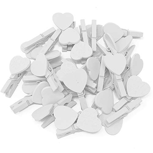 30mm White Mini Clothes Pegs with Matching 18mm White Hearts Craft For Shabby Chic Wedding Pack of 10 from Wedding Touches